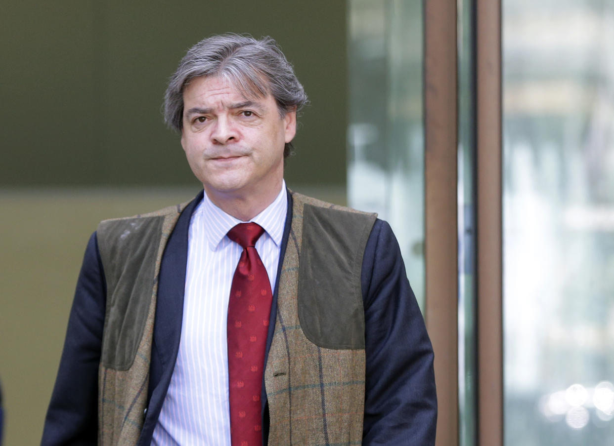 Rhodri Colwyn Philipps leave following a hearing at Westminster Magistrates Court in London, Tuesday, May 2, 2017. Philips also known by his aristocratic title Viscount St Davids is appearing on charges related to sending racially aggravated messages directed at Brexit court campaigner Gina Miller. Philipps is to go to trial in July. (AP Photo/Alastair Grant)