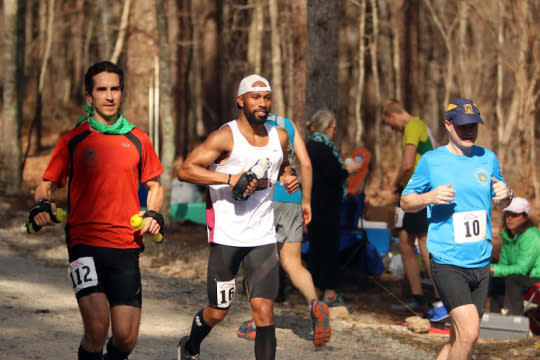 """<p>During the 2013 Old Dominion 100-Mile Cross Country Run, I was running along with a fellow competitor as we turned down an unimproved road that traversed a heavily wooded area. Out of the blue, the runner made a remark toward the effect of, """"The only thing that could ruin this moment would be a bear attack."""" I chuckled and replied, """"For what it's worth, I think I have more footspeed, so you better keep up!"""" As I scanned to our left, l spotted a big bear (seemingly the mother) with two cubs in tow. With a tap on the shoulder and a mutual nod, we picked up the pace and high-tailed it down the road. <i><br /></i></p><p><i>—Mosi Smith (pictured in white shirt), 33, Charlotte, North Carolina. Finisher of 26 marathons, charity runner for the <a href=""""http://semperfifund.org"""">Semper Fi Fund</a>.</i></p>"""