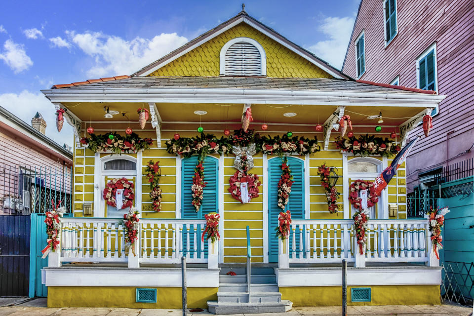 Small brightly painted duplex home in the French Qtr of New Orlenas LA, USA