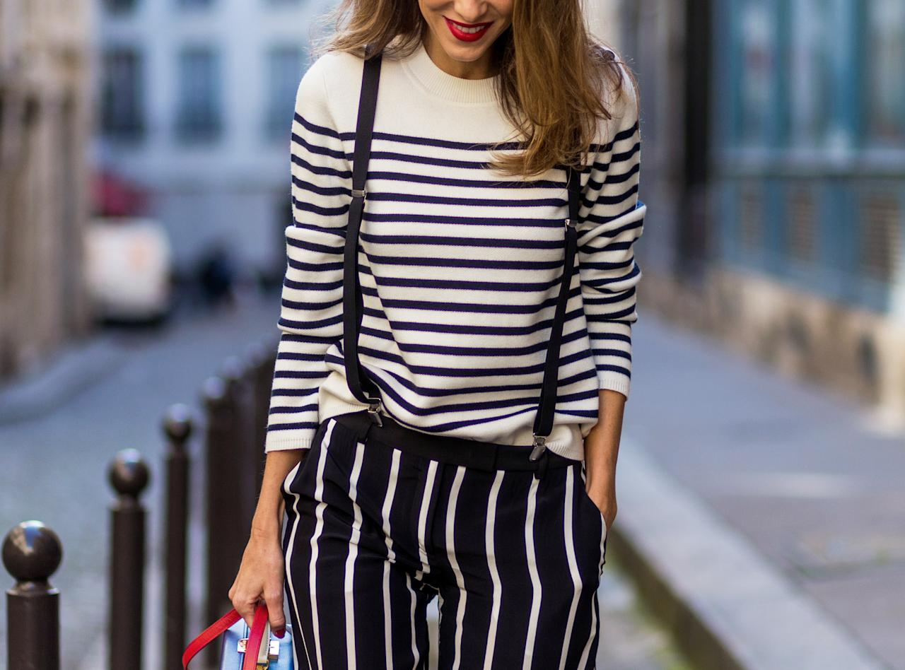 "<p>""A Breton shirt is the definition of chic. I have a dozen in my wardrobe. Most of the stylish girls also go for men's button-downs.""</p>"
