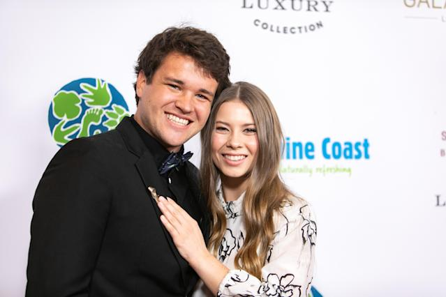 Chandler Powell and Bindi Irwin attend the Steve Irwin Gala Dinner at SLS Hotel on May 04, 2019 in Beverly Hills, California. (Photo by John Wolfsohn/Getty Images)