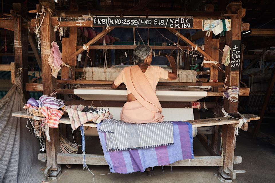 Cotton grown on the farm in India is dyed and spun into a jacquard by a local weaver, and will eventually become a Christy Dawn dress.