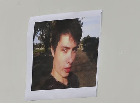 A picture of Elliot Rodger is displayed during a news conference by Santa Barbara County Sheriff Bill Brown at Sheriff headquarters in Santa Barbara