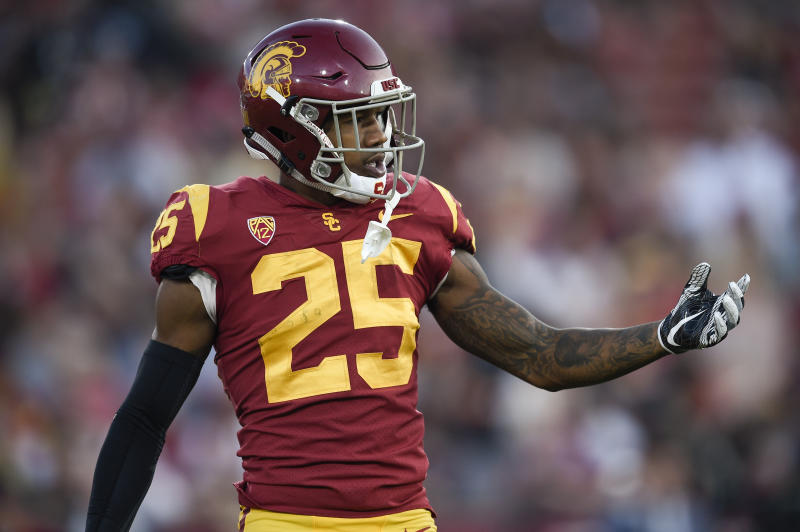 Southern California cornerback Jack Jones (25) in action during the first half of an NCAA college football game against Utah in Los Angeles, Saturday, Oct. 14, 2017. (AP Photo/Kelvin Kuo)