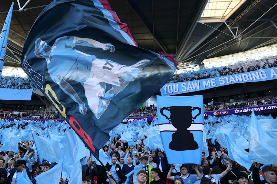 <p>Manchester City play Tottenham in the Carabao Cup Final at Wembley Stadium on April 25</p> (Getty Images)