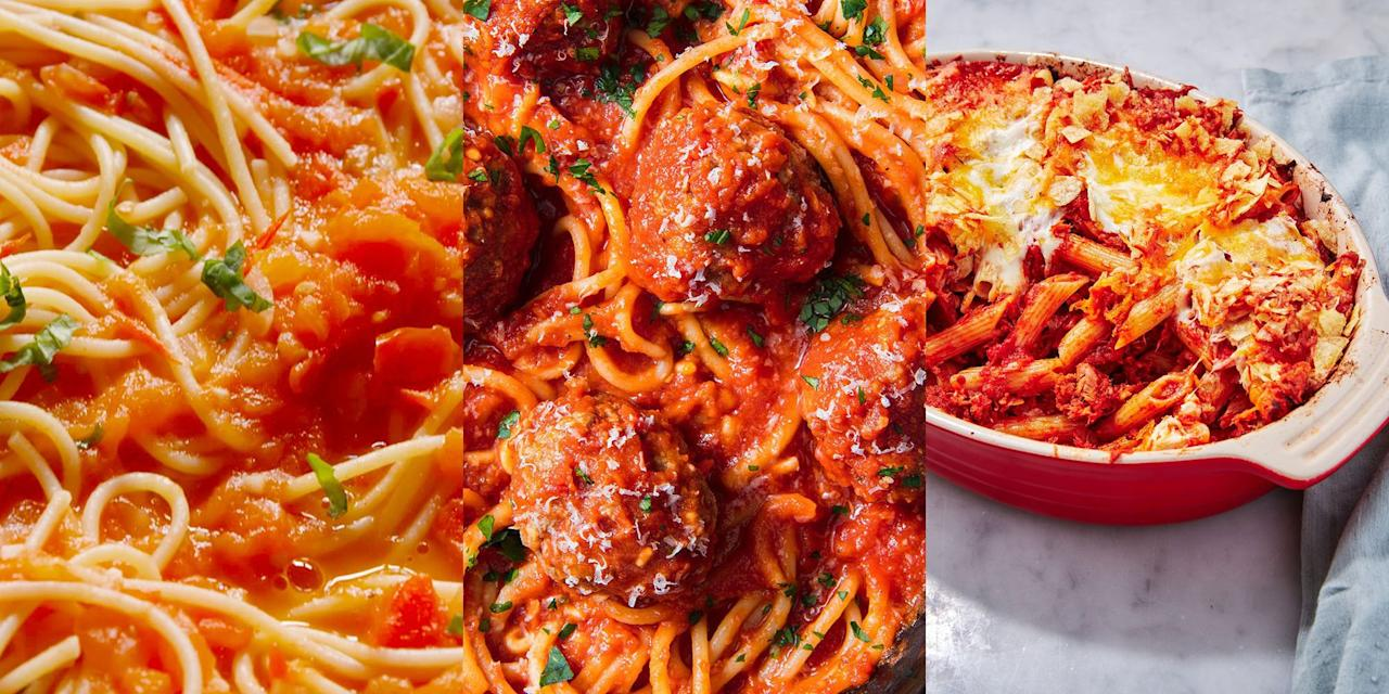 """<p>It's really the simplest of things that make us happy, and when it comes to our two favourite ingredients: <a href=""""https://www.delish.com/uk/pasta-recipes/"""" target=""""_blank"""">pasta</a> and <a href=""""https://www.delish.com/uk/cooking/recipes/a28784498/classic-tomato-soup-recipe/"""" target=""""_blank"""">tomatoes</a>, there's SO much potential. I mean, who doesn't just love a pasta dish with a delicious, fragrant tomato sauce? A recipe as easy  as <a href=""""https://www.delish.com/uk/cooking/recipes/a28841207/tomato-butter-spaghetti-recipe/"""" target=""""_blank"""">Tomato Butter Spaghetti</a> (simple but utterly delicious), or a complex and well thought out <a href=""""https://www.delish.com/uk/cooking/recipes/a28831487/classic-lasagne-recipe/"""" target=""""_blank"""">Classic Lasagne</a>, the base line flavours always fall back onto the incredible combination of pasta and tomatoes. Check out our favourite tomato pasta recipes now.  </p>"""