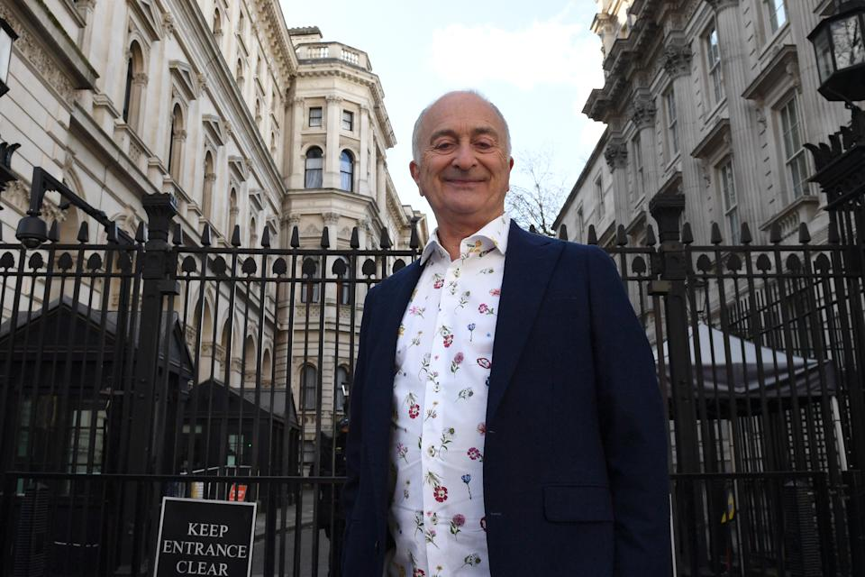 Tony Robinson before handing in a Equity petition to 10 Downing Street seeking support for the creative industries.