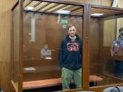Oleg Navalny, brother of Russian opposition leader Alexei Navalny, attends a court hearing in Moscow