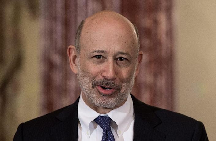 """""""After a challenging first half, the firm performed well for the remainder of the year as the operating environment improved,"""" Goldman chairman and CEO Lloyd Blankfein said in a statement (AFP Photo/NICHOLAS KAMM)"""