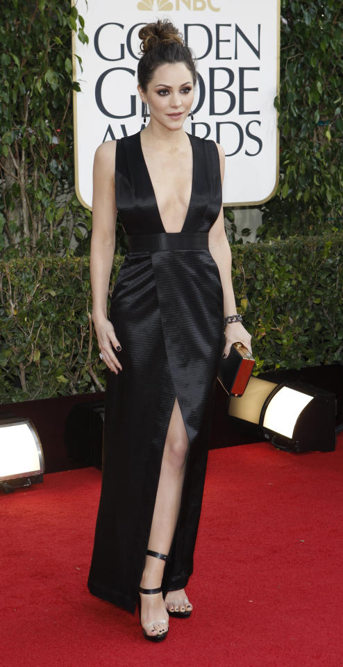 "Actress Katharine McPhee, from the television series ""Smash,"" arrives at the 70th annual Golden Globe Awards in Beverly Hills, California, January 13, 2013.  REUTERS/Mario Anzuoni (UNITED STATES  - Tags: ENTERTAINMENT)  (GOLDENGLOBES-ARRIVALS)"