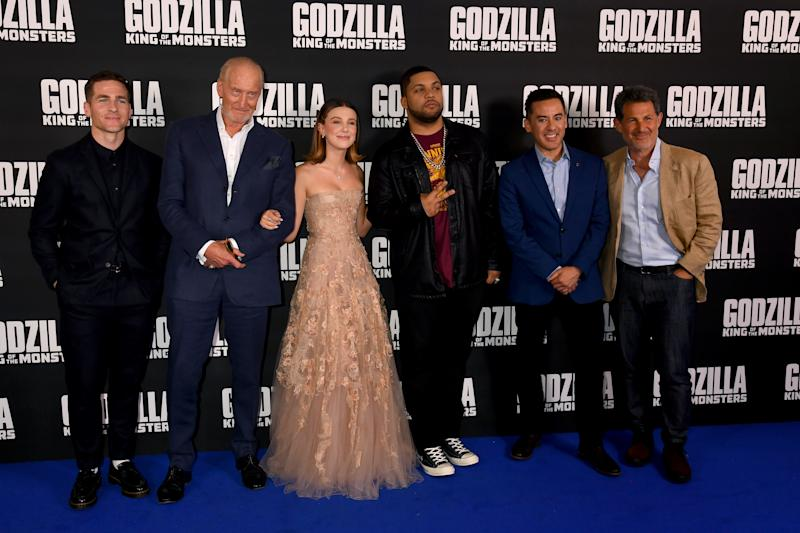 LONDON, ENGLAND - MAY 28: Zach Shields, Charles Dance, Millie Bobby Brown, O'Shea Jackson Jr. and Director Michael Dougherty attend GODZILLA II King of the Monsters at Cineworld Leicester Square on May 28, 2019 in London, England. (Photo by Dave J Hogan/Getty Images for Warner Bros)