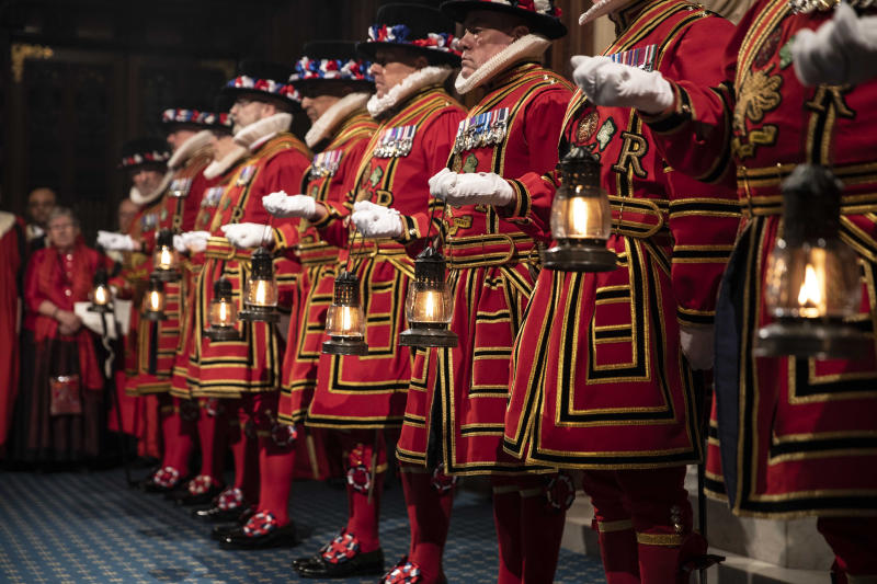 Yeoman warders take part in the traditional Ceremonial Search ceremony ahead of the official State Opening of Parliament in London, Monday Oct. 14, 2019. (Richard Pohle/Pool via AP)
