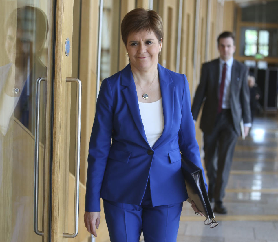 First Minister Nicola Sturgeon arriving for the First Minister�s Statement on Covid-19 at the Scottish Parliament, Holyrood, Edinburgh.