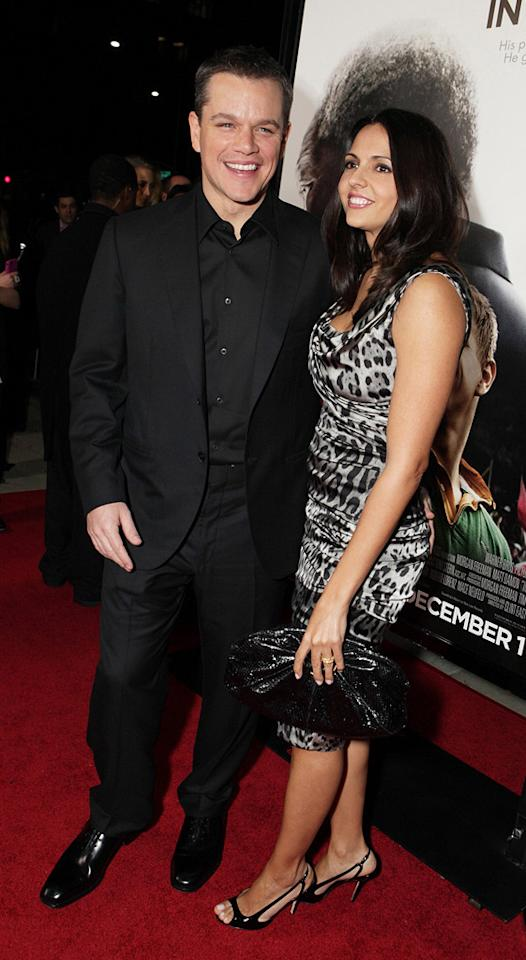 """<a href=""""http://movies.yahoo.com/movie/contributor/1800020155"""">Matt Damon</a> and wife at the Los Angeles premiere of <a href=""""http://movies.yahoo.com/movie/1810073710/info"""">Invictus</a> - 12/03/2009"""
