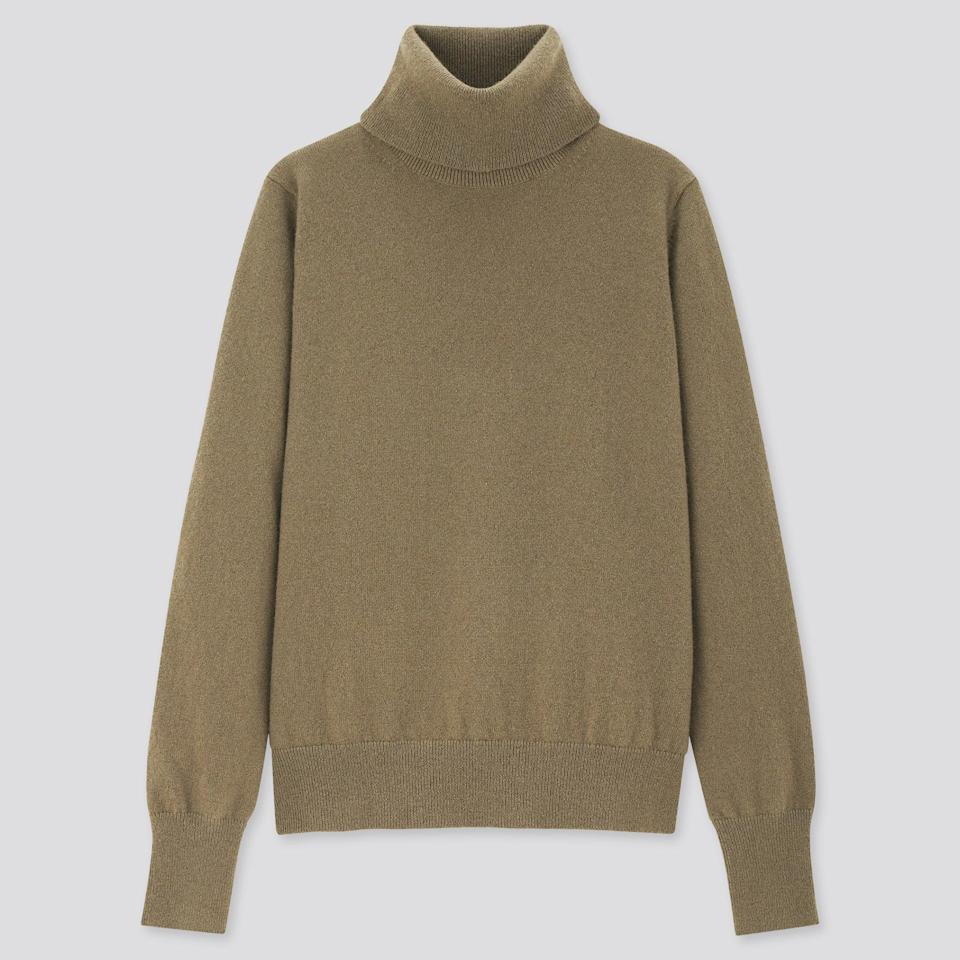 "<br><br><strong>Uniqlo</strong> 100% Cashmere Turtleneck Jumper, $, available at <a href=""https://www.uniqlo.com/uk/en/product/women-100pct-cashmere-turtleneck-jumper-428864COL45SMA006000.html"" rel=""nofollow noopener"" target=""_blank"" data-ylk=""slk:Uniqlo"" class=""link rapid-noclick-resp"">Uniqlo</a>"