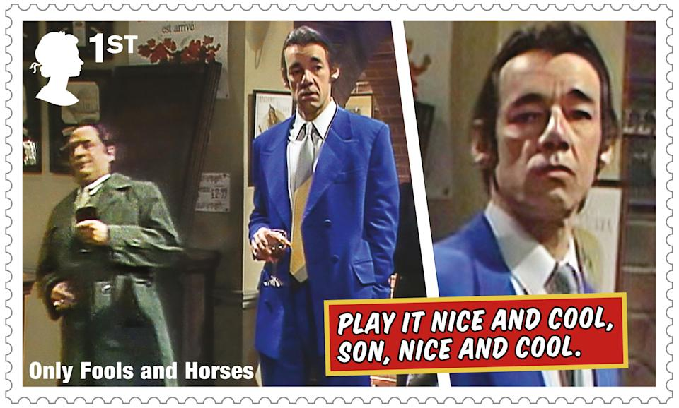 The stamps feature classic scenes from the show, including Del Boy's fall through the bar. (Royal Mail)