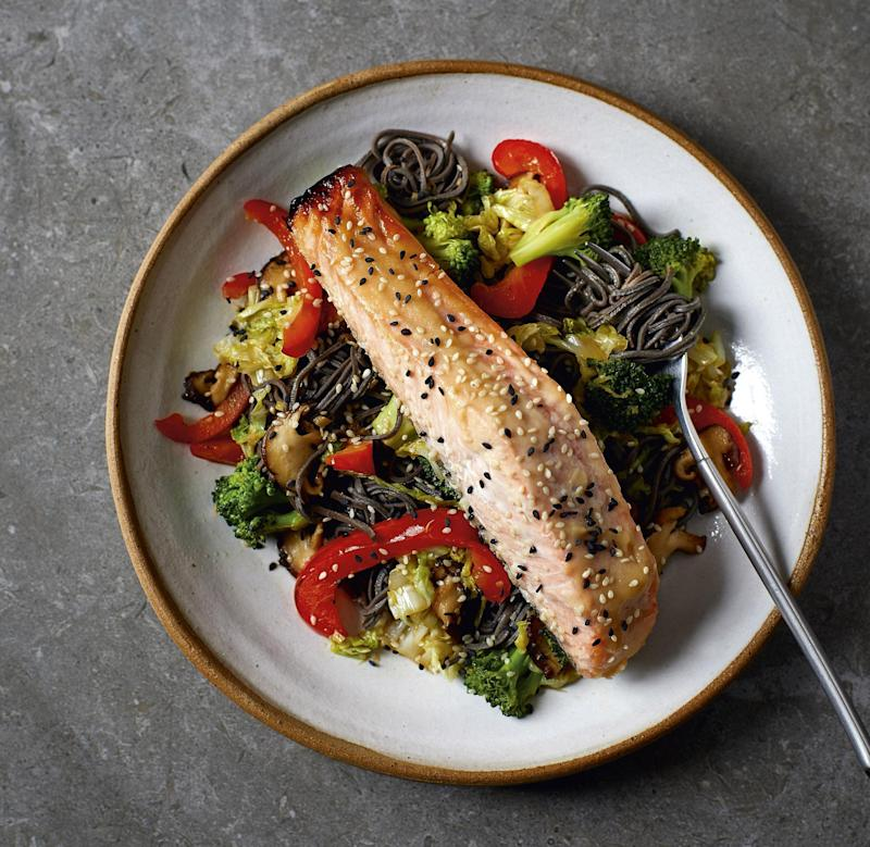 Miso salmon with black bean noodles from the book (recipe below), photograph by Andrew Burton