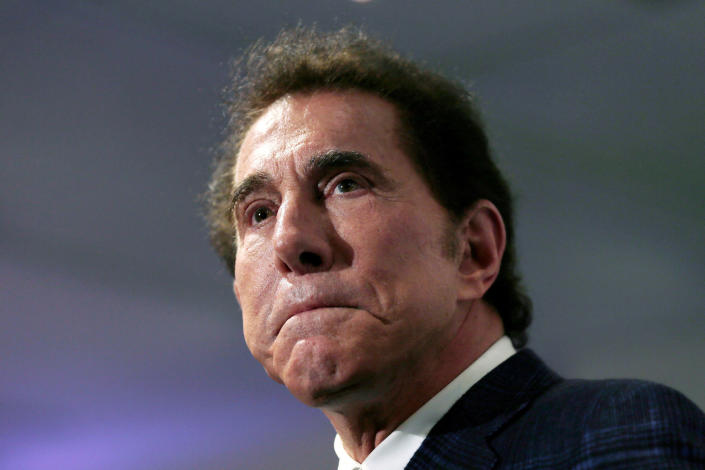 FILE - This March 15, 2016, file photo, shows casino mogul Steve Wynn at a news conference in Medford, Mass. A House Republican fundraising committee controlled by Minority Leader Kevin McCarthy received over $770,000 from Wynn, a Las Vegas casino mogul who stepped down from his company in 2018 after multiple women accused him of sexual misconduct. That's according to campaign finance disclosures made public Thursday., April 16, 2021. (AP Photo/Charles Krupa, File)