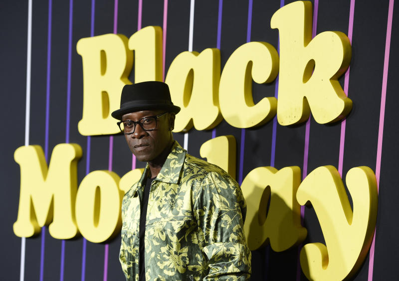 "Don Cheadle, a cast member in the Showtime television series ""Black Monday,"" poses at the premiere of the show, Monday, Jan. 14, 2019, in Los Angeles. (Photo by Chris Pizzello/Invision/AP)"