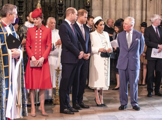 Senior royals pictured at last year's Commonwealth Day service at Westminster Abbey - Harry and Meghan are due to attend again. Richard Pohle/The Times