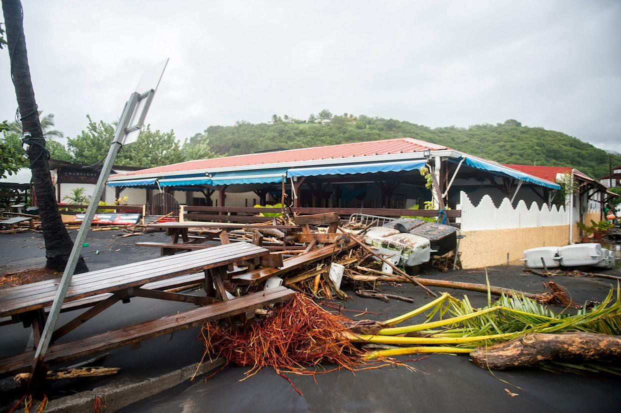 Damage at a restaurant in Le Carbet, on the French Caribbean island of Martinique on Sept. 19, 2017, after it was hit by Hurricane Maria.