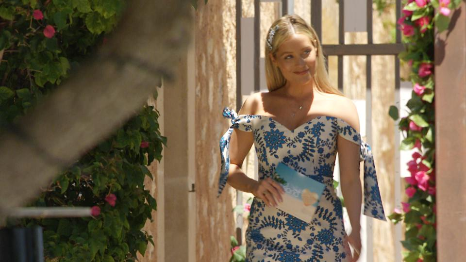 This image and the information contained herein is strictly embargoed until 21.00 Sunday 27th June 2021  From Lifted Entertainment  Love Island: SR7: Ep1 on ITV2 and ITV Hub new episodes are available the following morning on BritBox  Pictured: Laura arrives at the villa.  This photograph is (C) ITV Plc and can only be reproduced for editorial purposes directly in connection with the programme or event mentioned above, or ITV plc. Once made available by ITV plc Picture Desk, this photograph can be reproduced once only up until the transmission [TX] date and no reproduction fee will be charged. Any subsequent usage may incur a fee. This photograph must not be manipulated [excluding basic cropping] in a manner which alters the visual appearance of the person photographed deemed detrimental or inappropriate by ITV plc Picture Desk.  This photograph must not be syndicated to any other company, publication or website, or permanently archived, without the express written permission of ITV Picture Desk. Full Terms and conditions are available on the website www.itv.com/presscentre/itvpictures/terms  For further information please contact: james.hilder@itv.com / 0207 157 3052