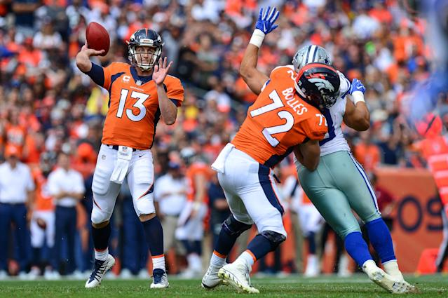 <p>Quarterback Trevor Siemian #13 of the Denver Broncos passes against the Dallas Cowboys in the first quarter of a game at Sports Authority Field at Mile High on September 17, 2017 in Denver, Colorado. (Photo by Dustin Bradford/Getty Images) </p>