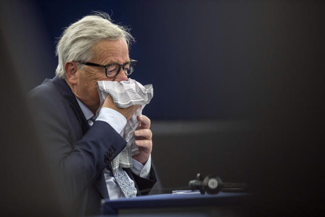 <p>European Commission President Jean-Claude Juncker blows his nose as he delivers his State of Union speech at the European Parliament in Strasbourg, eastern France, Wednesday, Sept.12, 2018. (AP Photo/Jean-Francois Badias) </p>