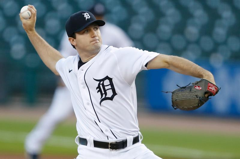 Detroit Tigers pitcher Casey Mize throws against the Cleveland Indians in the first inning at Comerica Park, Thursday, Sept. 17, 2020.