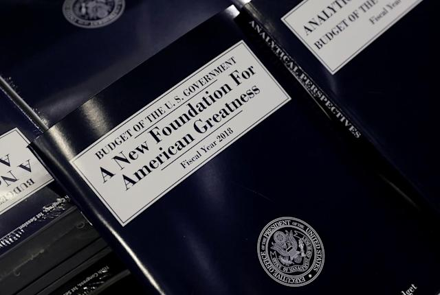 <p>A copy of President Trump's Fiscal Year 2018 budget is on display on Capitol Hill in Washington, U.S., May 23, 2017. (Photo: Kevin Lamarque/Reuters) </p>