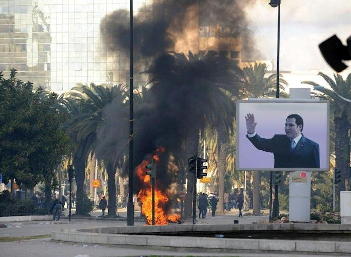 A month of protests over poverty and unemployment forced Ben Ali and his family to flee Tunisia on January 14, 2011 (AFP Photo/)