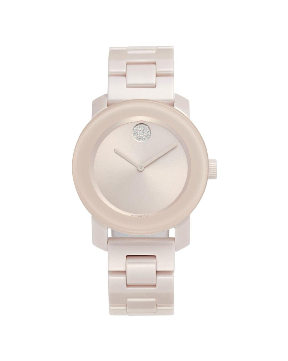 "<p><strong>MOVADO</strong></p><p>nordstrom.com</p><p><strong>$695.00</strong></p><p><a href=""https://go.redirectingat.com?id=74968X1596630&url=https%3A%2F%2Fwww.nordstrom.com%2Fs%2Fmovado-bold-ceramic-bracelet-watch-36mm%2F5871917&sref=https%3A%2F%2Fwww.marieclaire.com%2Ffashion%2Fnews%2Fg3961%2Fbest-watches-for-women%2F"" rel=""nofollow noopener"" target=""_blank"" data-ylk=""slk:Shop Now"" class=""link rapid-noclick-resp"">Shop Now</a></p><p>If a traditional Movado feels stodgy but you still crave sparkle, try this blush ceramic bracelet, complete with the signature museum dot.</p>"