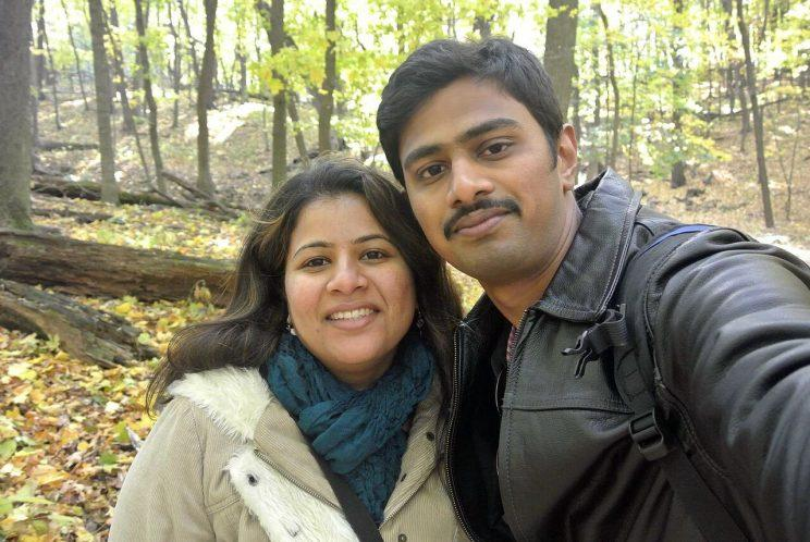 In this undated photo provided by Kranti Shalia, Srinivas Kuchibhotla, right, poses for photo with his wife Sunayana Dumala in Cedar Rapids, Iowa. In the middle of a crowded bar, a 51-year-old former air traffic controller yelled at two Indian men - Kuchibhotla and Alok Madasani - to