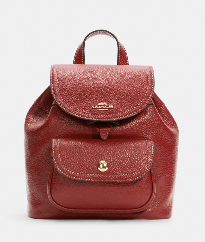 red leather Pennie Backpack 22 (Photo via Coach Outlet)