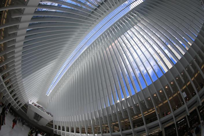<p>In an image taken with a fisheye lens, the ceiling of the Oculus mall at World Trade Center on Monday, August 22, 2016. (Gordon Donovan/Yahoo News) </p>