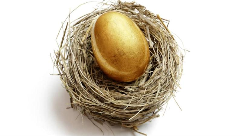 A golden egg in a nest