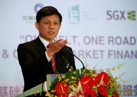 Singapore's Minister Chan Chun Sing speaks before a MOU signing ceremony between Singapore Exchange Limited (SGX) and China Construction Bank Corp (CCB)