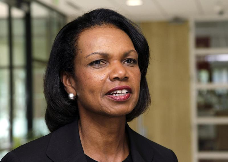 """FILE - In this July 19, 2012, file photo, Condoleezza Rice talks on the Stanford University campus in Palo Alto, Calif. Rice has joined CBS News as a contributor. CBS News Chairman Jeff Fager and president David Rhodes say Rice """"will use her insight and vast experience to explore issues facing America at home and abroad."""" Rice served as secretary of state during President George W. Bush's second term. She was the first African-American woman to hold the post. Rice was Bush's national security adviser during his first term and worked on the National Security Council under President George H.W. Bush.(AP Photo/Paul Sakuma, File)"""