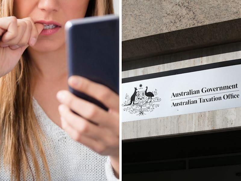 A photo of a woman looking at her phone concernedly and the ATO sign.