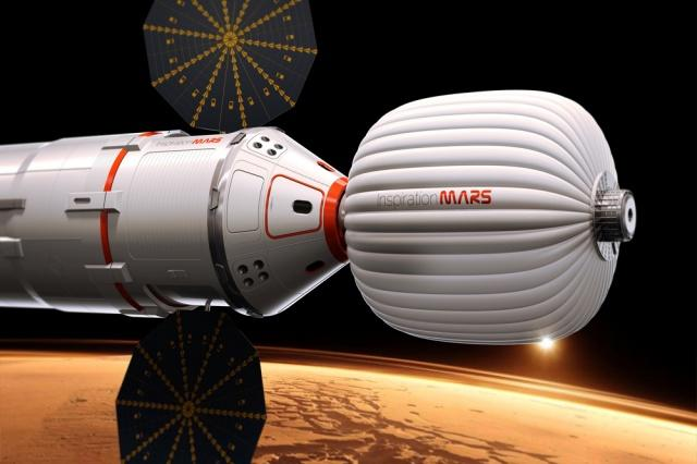 Artist rendition of an Inspiration Mars capsule and habitat.