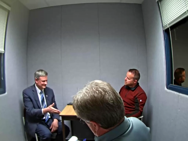 The North Dakota Bureau of Criminal Investigation interviews South Dakota Attorney General Jason Ravnsborg on September 30 about a crash that killed Joe Boever.