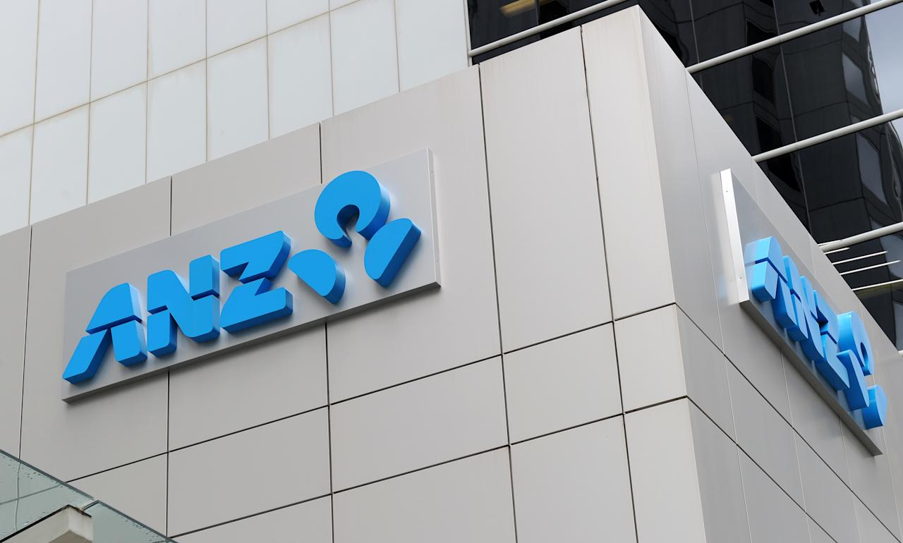 """The new ANZ Bank logo adorns the bank's headquarters in Perth on October 27, 2011.  The Australian banking giant will unveil its full-year profit results on November 3 -- the last of the """"Big Four"""" to do so.  AFP PHOTO / Torsten BLACKWOOD"""