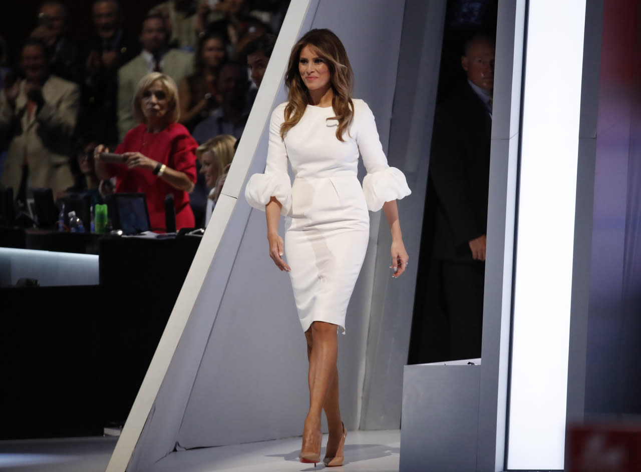 <p>Melania Trump, wife of Republican presidential candidate Donald Trump, takes the stage to speak at the Republican National Convention in Cleveland, Ohio on July 18, 2016. (Photo: Jim Young/Reuters)</p>