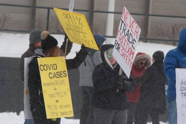Roughly 40 protesters gathered in Whitehorse with signs to protest COVID-19 restrictions in Yukon Friday.
