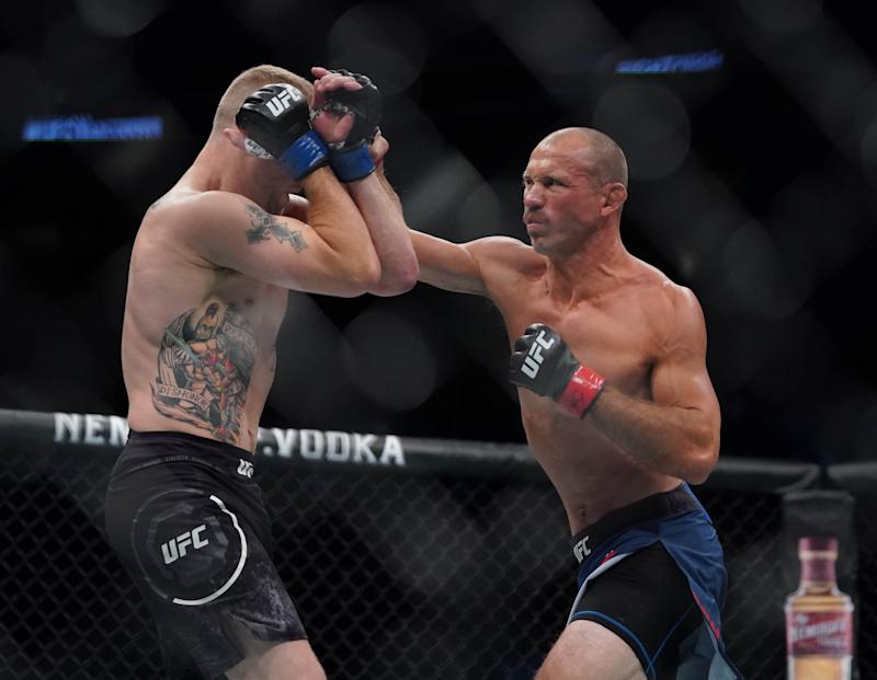 Sep 14, 2019; Vancouver, BC, Canada; Donald Cerrone (red gloves) fights Justin Gaethje (blue gloves) during UFC Fight Night at Rogers Arena. Mandatory Credit: Kyle Terada-USA TODAY Sports