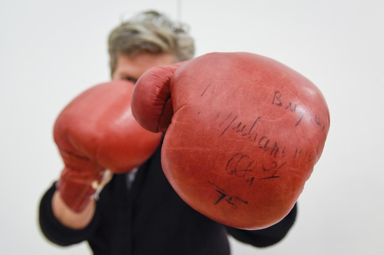 <p>A pair of boxing gloves worn and signed by Muhammad Ali are displayed before they go on sale at Sotheby's (Rex features) </p>