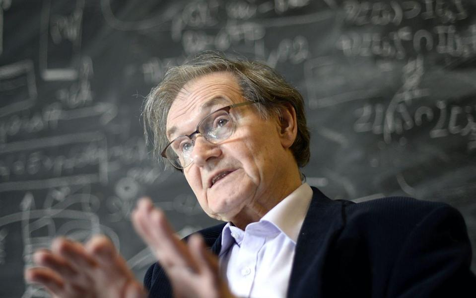 Sir Roger Penrose during interview with Austria Presse Agentur at Institute of Science and Technology, Klosterneuburg, Austria. Sir Roger Penrose Interview at Institute of Science and Technology, Viena, Austria - 21 May 2015 Sir Roger Penrose OM FRS is an English mathematical physicist, mathematician and philosopher of science. He is the Emeritus Rouse Ball Professor of Mathematics at the Mathematical Institute of the University of Oxford - APA Picturedesk Gmbh/Shutterstock/APA Picturedesk Gmbh/Shutterstock