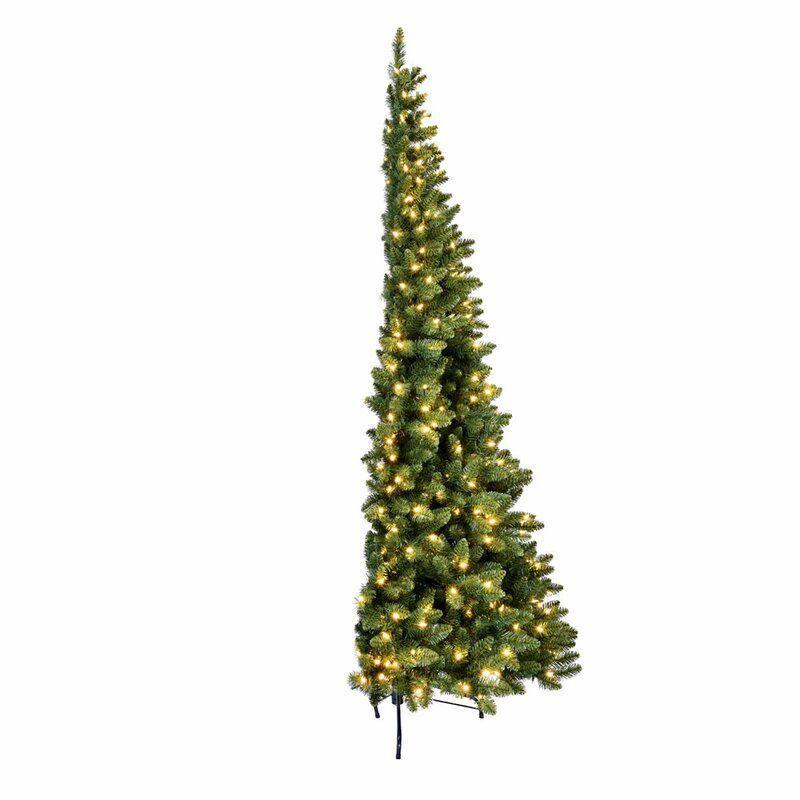 """<p><strong>The Holiday Aisle</strong></p><p>wayfair.com</p><p><strong>$419.99</strong></p><p><a href=""""https://go.redirectingat.com?id=74968X1596630&url=https%3A%2F%2Fwww.wayfair.com%2Fholiday-decor%2Fpdp%2Fthe-holiday-aisle-green-pine-artificial-christmas-tree-with-clear-lights-w001619534.html&sref=https%3A%2F%2Fwww.bestproducts.com%2Fhome%2Fdecor%2Fg334%2Fbest-artificial-christmas-trees%2F"""" rel=""""nofollow noopener"""" target=""""_blank"""" data-ylk=""""slk:Shop Now"""" class=""""link rapid-noclick-resp"""">Shop Now</a></p><p>When viewed from the front, this tree looks just as lush as any other. But what sets it apart is that it's a half-back tree, and it's able to stand flush against the wall. Ideal for rooms that are short on space, this prelit tree has hundreds of bendable branch tips that can be strung with ornaments and garlands, just the same as a full tree.</p>"""
