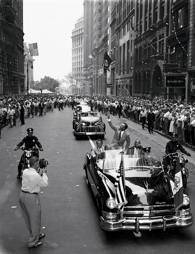 "<div class=""caption""> After winning the 1953 Masters, U.S Open and Open Championship (at Carnoustie, above), Hogan received a ticker-tape parade in New York City. </div> <cite class=""credit"">Bettmann</cite>"