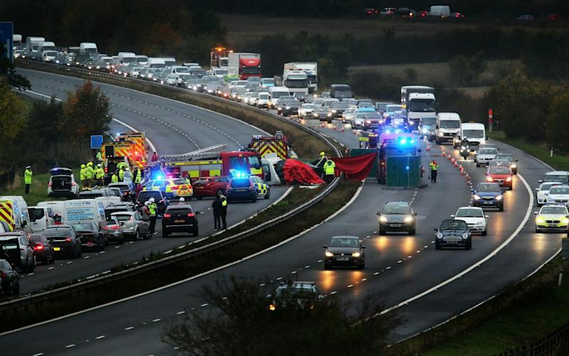 Footage captured on dashcams showed dozens of motorists swerving - Oxford Mail/SWNS.COM